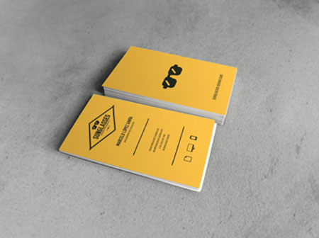 retro yellow business card designs